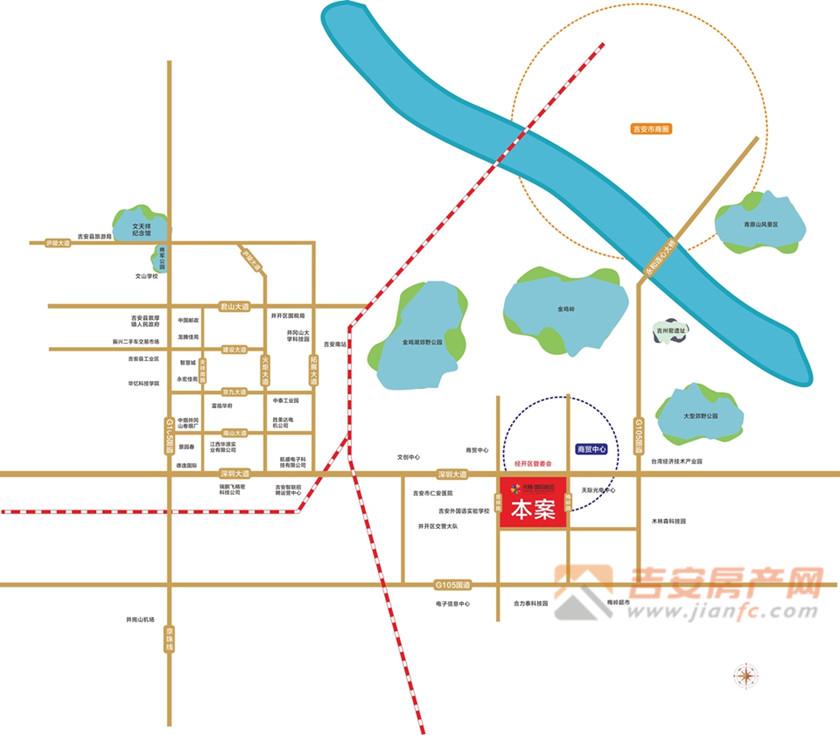 天腾国际都会区位图-吉安房产网