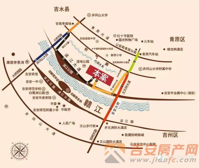 康居外滩位置图-吉安房产网