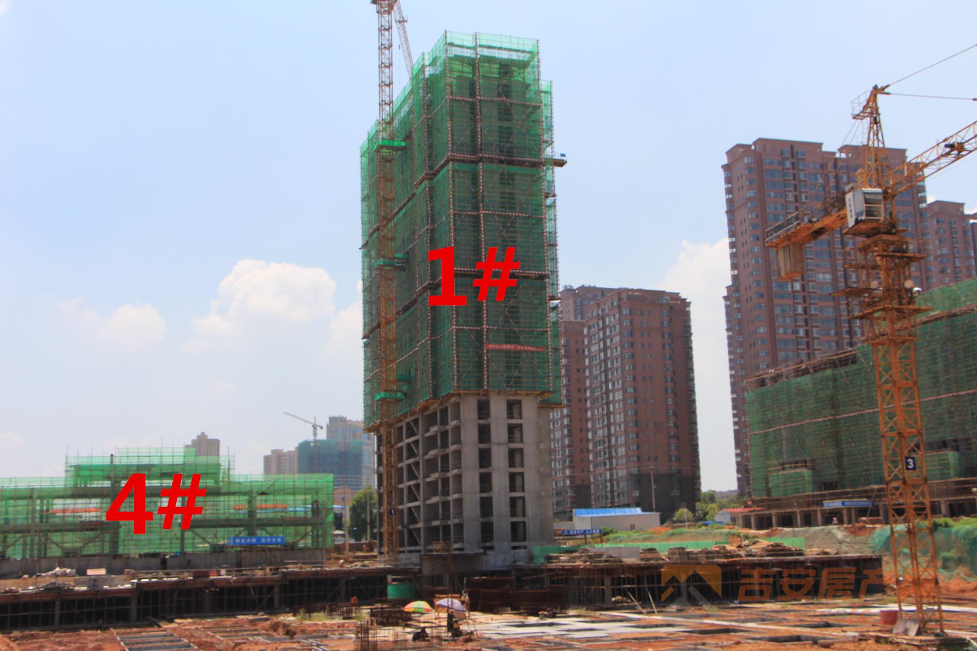 御文府工程实景:1#、4#为商业,1#、5#已建大半