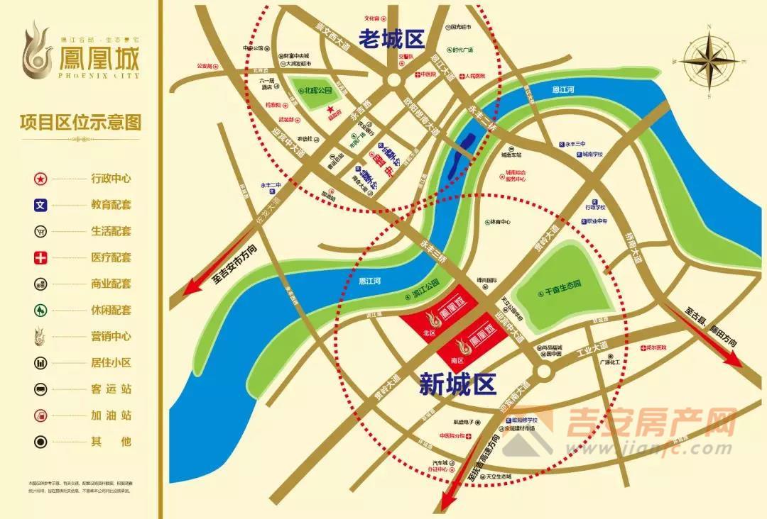 锦江凤凰城位置图-吉安房产网
