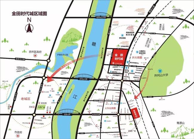 吉安房产网-金田时代城交通图